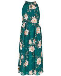 Apricot Chiffonjurk Peony Print Rope Neck Midi Dress - Groen