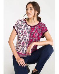 Olsen Rundhalsshirt mit Blumenprint und grafischem Muster - Rot
