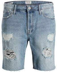 Jack & Jones RICK SHORTS DENIM CUT OFF CAMP Jeansshorts - Blau