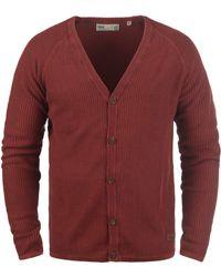 Solid Cardigan »Tebi« Strickjacke in Waffelstrick-Optik - Rot