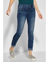 Street One Comfort-fit-Jeans mit Galon-Streifen in Zebra-Optik - Blau