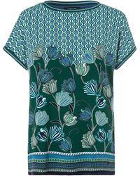 Olsen Rundhalsshirt mit Allover-Print aus stilisierten Blüten und graphischen Ornamenten - Blau