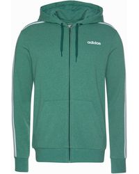 adidas Kapuzensweatjacke »ESSENTIALS 3 STRIPES FULL ZIP FRENCH TERRY« - Grün