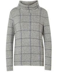 Tom Tailor Langarm-Poloshirt im großen Karo-Design - Grau