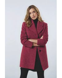 BARBARA LEBEK Wollmantel in modischer Bouclé-Optik - Rot