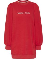 Tommy Hilfiger Sweatkleid »TJW HEART LOGO SWEAT DRESS« mit gesticktem Herz in Tommy Farben & Logo-Schriftzug - Rot