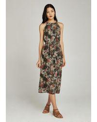 Apricot Chiffonkleid »Tropical Palm Tie Neck Midi Dress« mit amerikanischem Ausschnitt - Mehrfarbig
