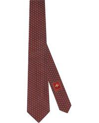 Gucci Corbata de seda con Horsebit GG - Rojo
