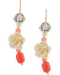 Prada Pendientes con detalles de rosa de cristal