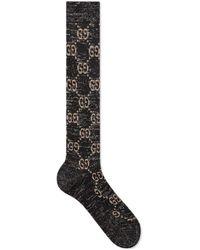 Gucci Calcetines de lúrex con G entrelazada - Negro