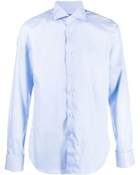 Canali Camisa azul celeste con micro cuadros
