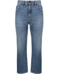 Saint Laurent Jeans cropped en denim lavado - Azul