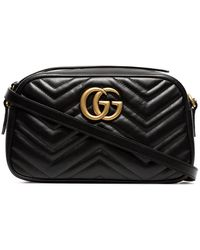 Gucci Black Velvet GG Marmont 2.0 Camera Bag
