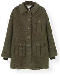 Ganni Boucle Wool Coat In Kalamata - Green