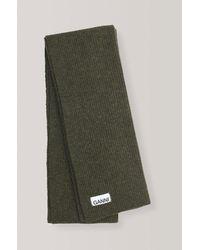 Ganni Forest Green Wool Blend Scarf