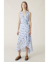Ganni Printed Georgette Wrap Midi Dress - Blue