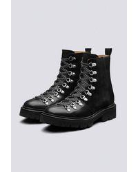 Grenson Nannette Black Leather/suede Hiker Boots