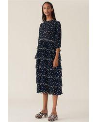 Ganni - Pleated Georgette Dress - Lyst