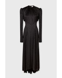 Paco Rabanne Long Rhinestone Dress In Satin - Black