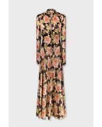 Paco Rabanne Long Dress In Printed Satin - Multicolor