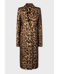 Paco Rabanne Tailored Coat In Leopard Printed Wool - Multicolor