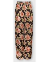 Paco Rabanne Wide-legged Satin Pants With Floral Print - Multicolor