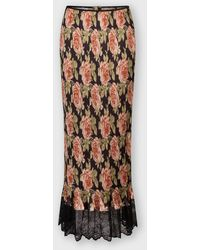 Paco Rabanne Pleated Maxi Skirt Decorated With Rose Bouquet Prints - Multicolor