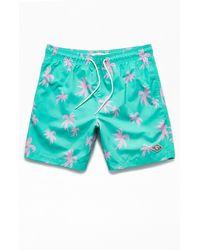 "PacSun Pink Palms 17"" Swim Trunks - Blue"