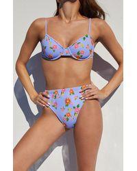 LA Hearts by PacSun Floral Georgia High Waisted Bikini Bottom - Blue