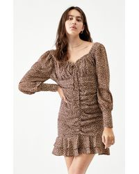 Lucca Couture London Ruched Dress - Brown