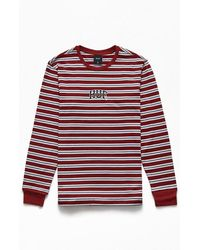 Huf Anaheim Striped Long Sleeve T-shirt - Red
