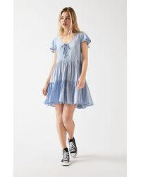 Dress Forum Lace-up Tiered Babydoll Dress - Blue