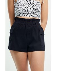 Kendall + Kylie Paperbag Cargo Shorts - Black