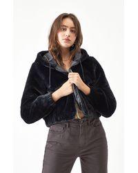 LA Hearts Faux Fur Hooded Jacket - Black
