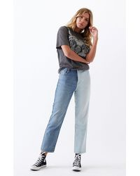 PacSun Two Piece High Waisted Straight Leg Jeans - Blue