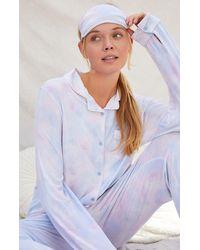 LA Hearts by PacSun Eye Mask & Long Sleeve Pajama Set - Multicolor