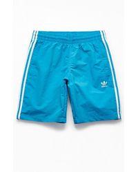 "adidas - Blue 3-stripes 19"" Swim Trunks - Lyst"