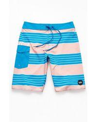 """RVCA Uncivil Stripe 20"""" Boardshorts - Blue"""