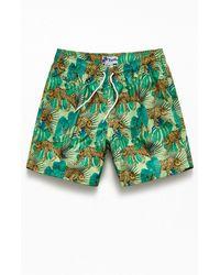 "Trunks Surf & Swim Leopard Palm 17"" Swim Trunks - Green"