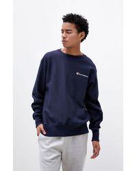 Champion Reverse Weave Left Chest Crew Neck Sweatshirt - Blue