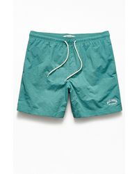 """PacSun Embroidered Logo Solid 17"""" Swim Trunks - Blue"""