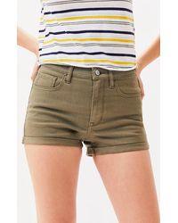 PacSun Olive Denim Shortie Shorts - Green