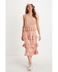 Lucca Couture Theo Ruffle Midi Dress - Pink