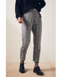 Kendall + Kylie - Belted Plaid Pants - Lyst