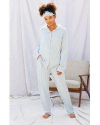 LA Hearts by PacSun Eye Mask & Long Sleeve Pajama Set - Blue