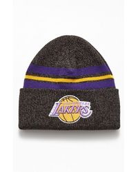 Mitchell & Ness Lakers Stripe Beanie - Black