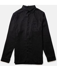 Rhythm Corduroy Long Sleeve Button Up Shirt - Black