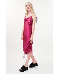 Lioness Magenta String Along Midi Dress - Red