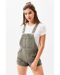 PacSun Pine Crest Overall Shorts - Green