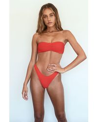 LA Hearts by PacSun Red Cari Scrunch Bandeau Bikini Top